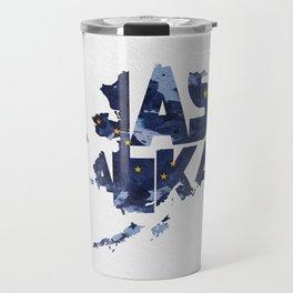 Alaska Typographic Flag Map Travel Mug