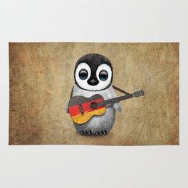Baby Penguin Playing German Flag Guitar Rug
