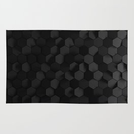 Black abstract hexagon pattern Rug