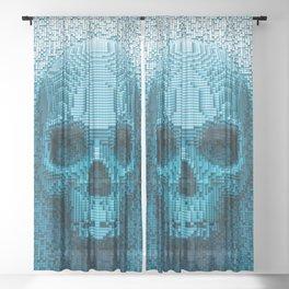 Pixel skull Sheer Curtain