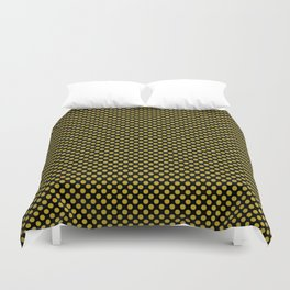 Black and Antique Moss Polka Dots Duvet Cover