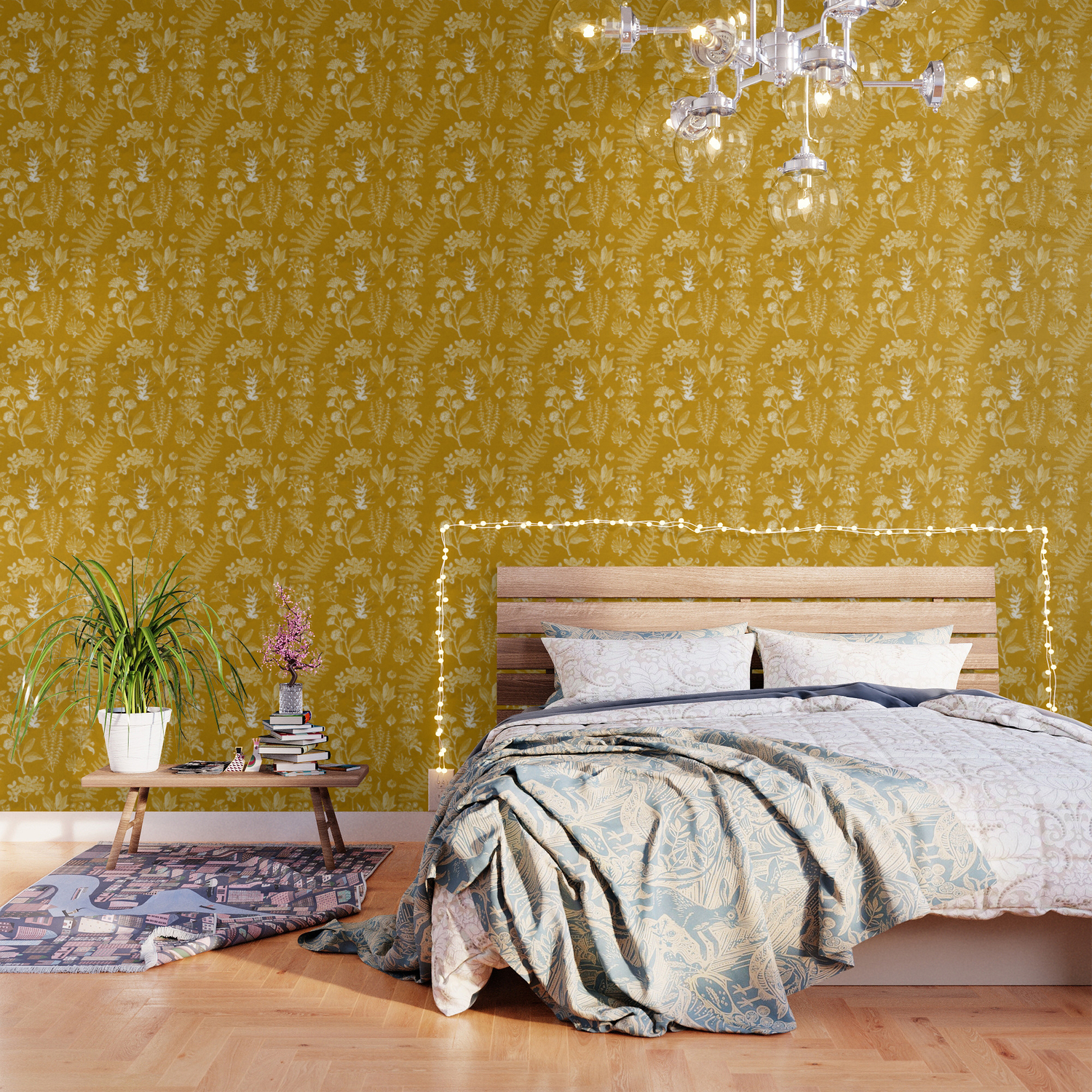 Yellow Mustard Vintage Floral Wallpaper By Themaxwells Society6