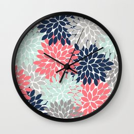 Flower Burst Petals Floral Pattern Navy Coral Mint Gray Wall Clock