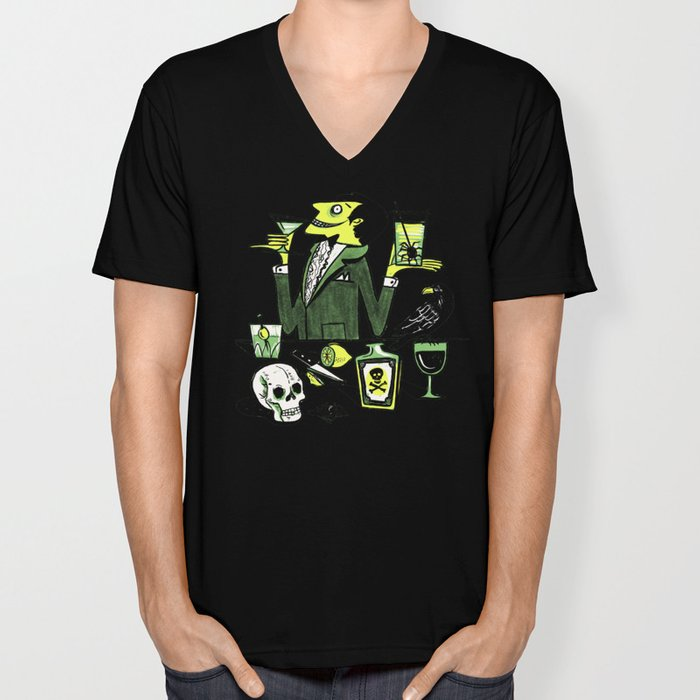 Drinks With The Mad Scientist Next Door Unisex V-Neck