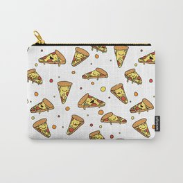 Cute Smiling Happy Pizza Pattern on white background Carry-All Pouch