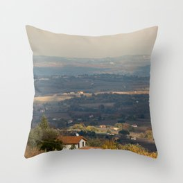Sunset Italian countryside landscape view Throw Pillow