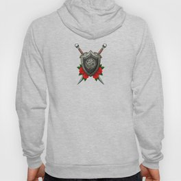 Shield with Chinese Dragon, Roses and Crossed Swords on Blue Hoody