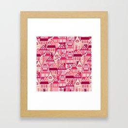 Pink Little Town Framed Art Print