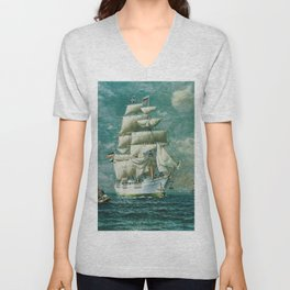 Vintage Large White Sailboat Painting (1895) Unisex V-Neck