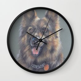 German Shepherd DOG Portrait Pastel drawing on green babckground Wall Clock
