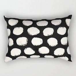 Trendy Cream Polka Dots on Black Rectangular Pillow