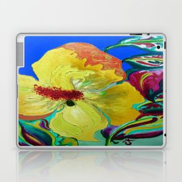 Birthday Acrylic Yellow Orange Hibiscus Flower Painting with Red and Green Leaves Laptop & iPad Skin