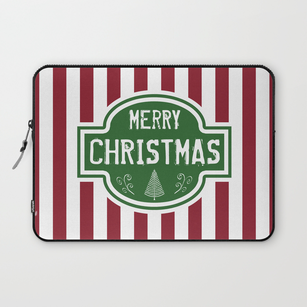 Merry Christmas Red & White Stripes Laptop Sleeve LSV9008666