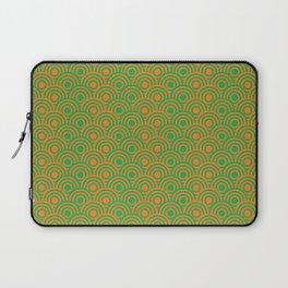 op art pattern retro circles in green and orange Laptop Sleeve