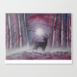 Deer In A Purple Forest Canvas Print