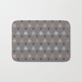 Boho Baby // Middle Eastern Metallic // Scorpion Symbol + Geometric Floral in Charcoal Bath Mat