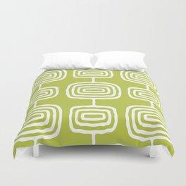 Mid Century Modern Atomic Rings Pattern 771 Green Duvet Cover