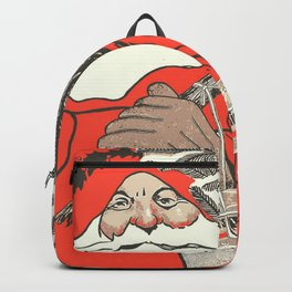 Christmas Pudding And Vintage Santa Vector Backpack
