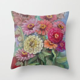 Autumn FLOWERS in the garden Still Life Pastel drawing Pink Purple Decorative Painting Throw Pillow