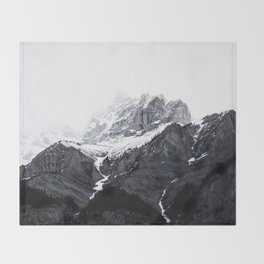 Moody snow capped Mountain Peaks - Nature Photography Throw Blanket