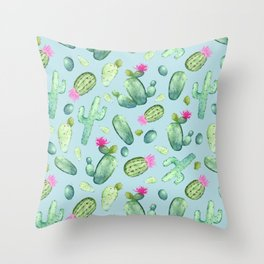 Green Cactus with Pink Bloom   Watercolor Cacti on Cyan Background Throw Pillow
