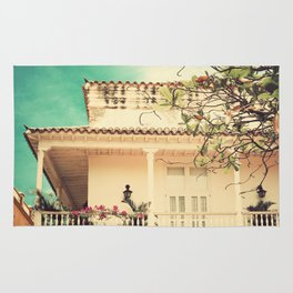 Colourful Summer Old House (Retro and Vintage Urban, architecture photography) Rug