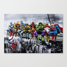 Superhero Lunch Atop A Skyscraper Canvas Print