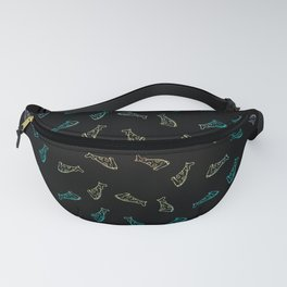 Pizza - black / rainbow gradient - repeating pattern seamless Fanny Pack