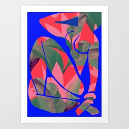 Blue Nude  (Neon red after Matisse) Art Print