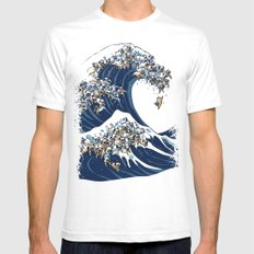 The Great Wave of Pug MEDIUM White Mens Fitted Tee