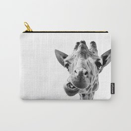 Giraffe Portrait Black and White Carry-All Pouch