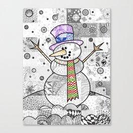 Coloured Snowman Canvas Print