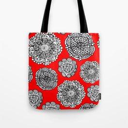 red mandala maze  Tote Bag