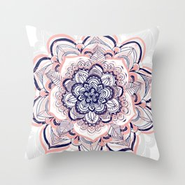 Woven Dream - Mandala in Pink, White and deep Purple Throw Pillow