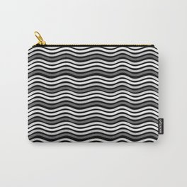 Black and White Graphic Metal Space Carry-All Pouch