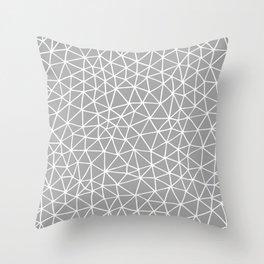 Connectivity - White on Grey Throw Pillow