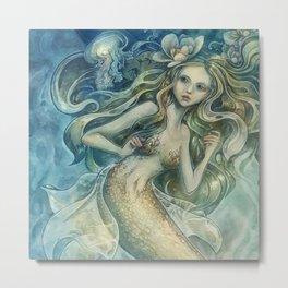 mermaid with Flowers in her hair Metal Print
