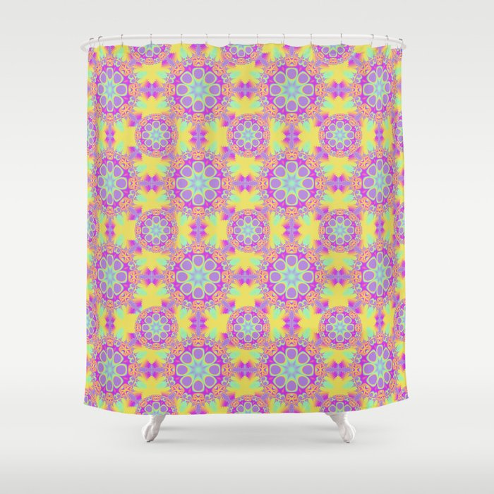 Cute Patterns In Yellow Pink Purple Turquoise Shower Curtain