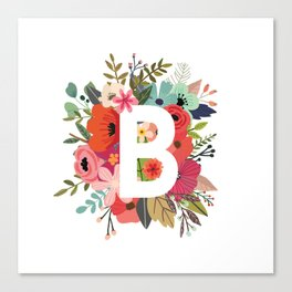 B – Monogrammed Floral Initial Canvas Print