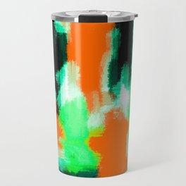orange green and black painting abstract background Travel Mug