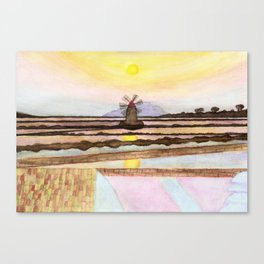 Salt Pans & Mill Watercolor Canvas Print