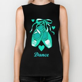 Love to Dance Teal Ballet Shoes Biker Tank