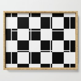 Black and white squares, crosses and lines Serving Tray