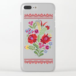Hungarian Folk Design Red Peppers Clear iPhone Case