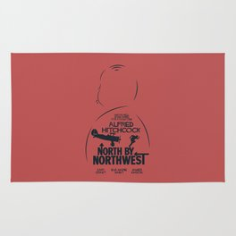 North by Northwest, Alfred Hitchcock, minimal movie poster, classic film, Cary Grant, alternative Rug