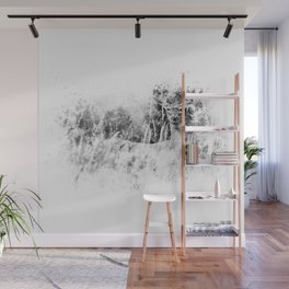Whitetail Deer (Black and White) Wall Mural