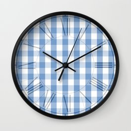 Classic Pale Blue Pastel Gingham Check Wall Clock