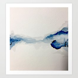 Abstract Blue Watercolor Art Print