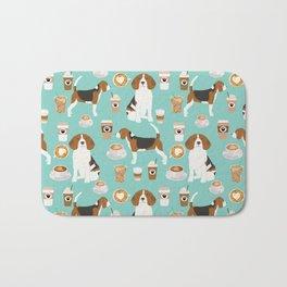 Beagle coffee print cute dog beagles coffees lattes Bath Mat