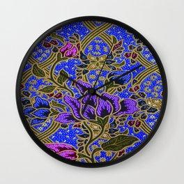 Neon Blue Purple Floral Pattern Leafs Wall Clock